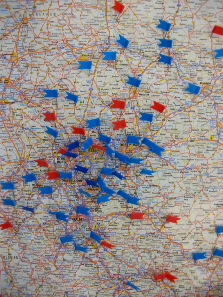 NRW Verbreitung Stand Juni 2015 blau: WW eingeführt/ rot: Interesse am WW