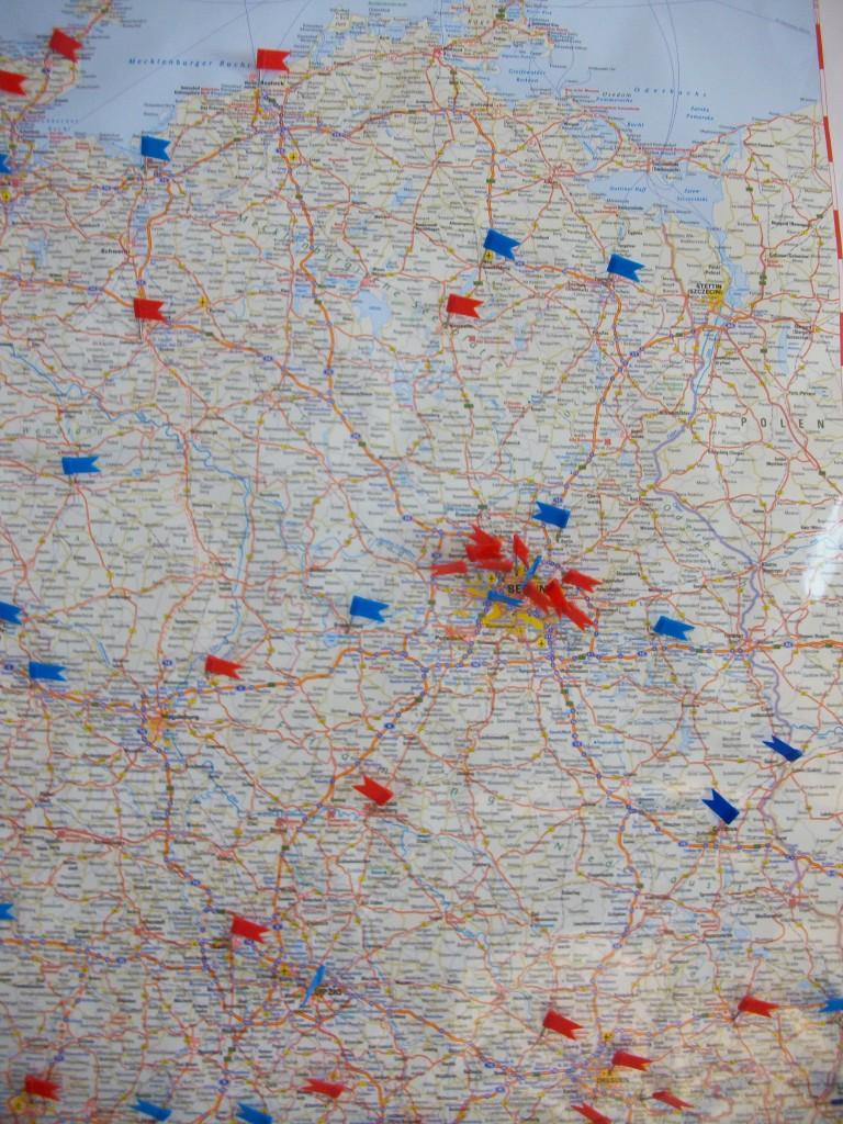 Nordosten Verbreitung Stand Juni 2015 blau: WW eingeführt/ rot: Interesse am WW