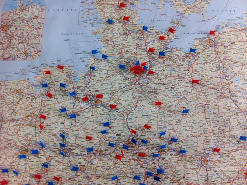 Überblick Verbreitung Werdenfelser Weg Norddeutschland (blau: aktiv /rot: interesse) Stand 1.4.2015