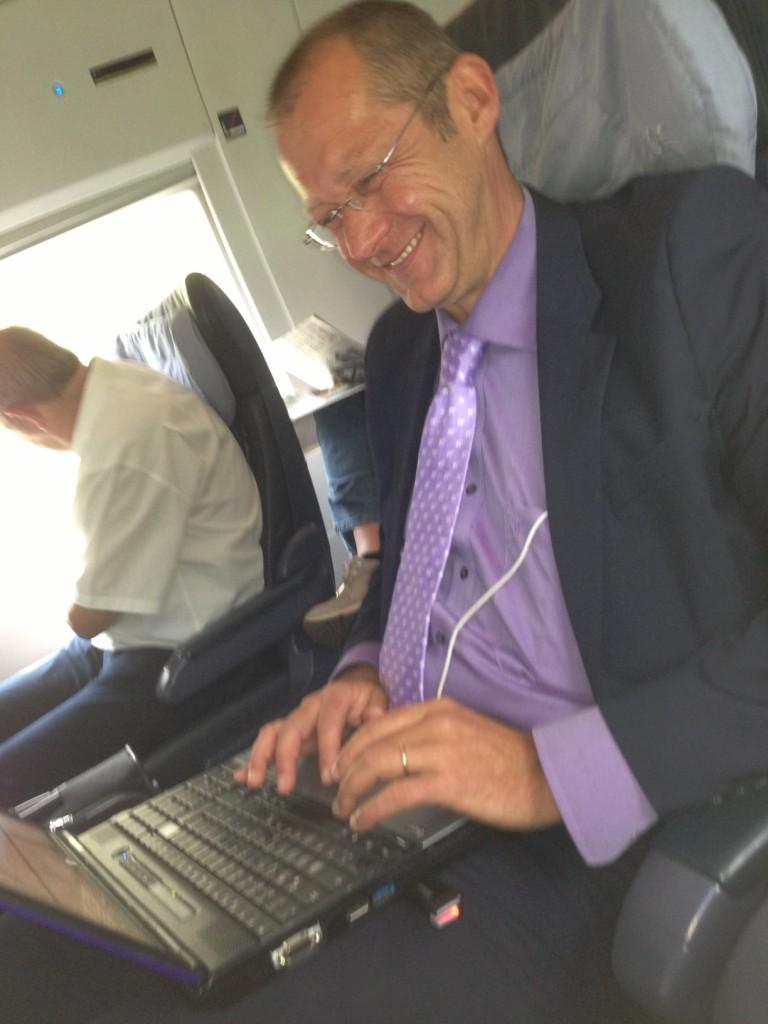 Sebastian Kirsch in der Bahn nach Köln